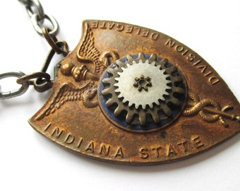 STEAMPUNK Style Necklace with Medical Insignia made from ANTIQUE Found OBJECTS One-of-a-Kind Assemblage