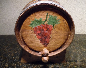 Hand Painted, Five Liter Oak Wine Barrel with Spigot and Stand, Home Brewing Wine, Spirits and Vinegar,