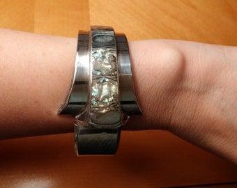 ON SALE J. Comes Vintage Taxco Abalone Sterling Silver Clamper Bracelet