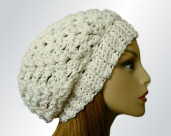 SLOUCHY BEANIE HAT Crochet Knit Slouchie Beany Chunky Slouchy Almost White Fishermans Cream Wool Slouch Hat Women Hats Winter Hat