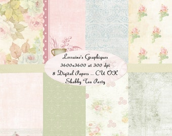 Shabby Tea Party:  A Shabby Chic Inspired Digital Paper Background Pack PLUS Free Labels