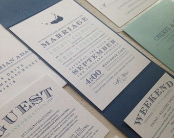 Nantucket Pocketfold Wedding Invitation Suite // Elegant and Timeless // Nautical // Sample Set