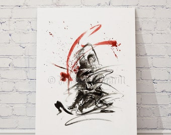 Samurai  Battle  Red Warrior  Sword Katana Wakizashi Tanto Fine Art Print Japan Style