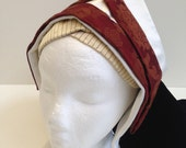 Ladies' Wine/Rust and Ivory Bonnet and Frontlet Tudor Headdress as Seen on BBC2