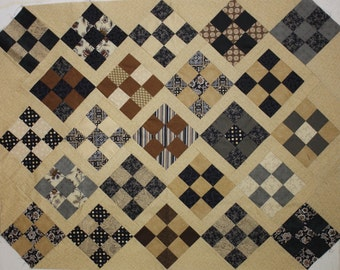 Unfinished Quilt Top Ready to Quilt 9 patch throw blanket neutral black and tan
