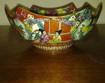 Chinese porcelain bowl a superb vintage Chinese 1950s Peoples Republic jingdezhen famille rose cut corner bowl six character seal mark