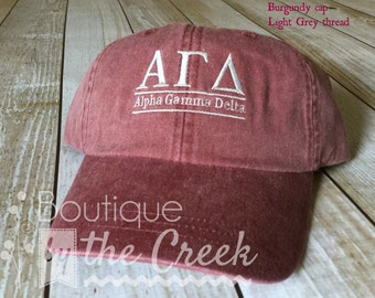 Alpha Gamma Delta Sorority Baseball Cap for Ladies - Pigment Dyed ΑΓΔ - Sorority Gift