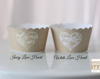 MADE TO ORDER Burlap and Heart Lace Style Cupcake Wrappers with white or ivory lace heart- Set of 12