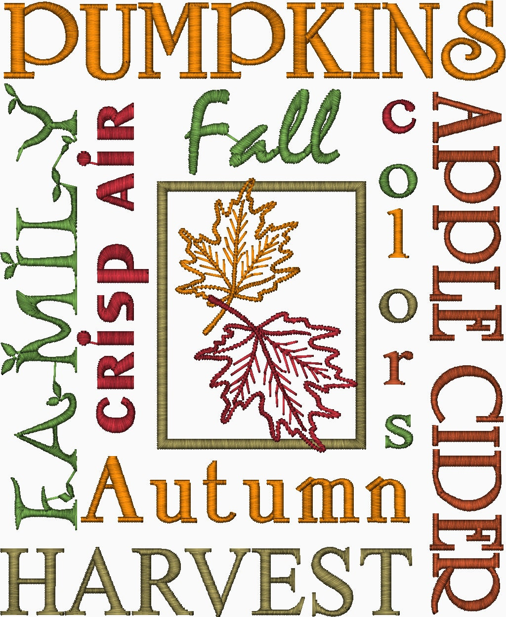 Autumn fall thanksgiving word design embroidery by