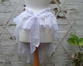 White Bustle Skirt Upcycled Woman's Clothing Tribal Tatterd Wild Shredded  Distressed Cotton Lace Ruffles Layers