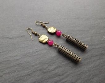"Earrings ""lantern"" your fuchsia agate"