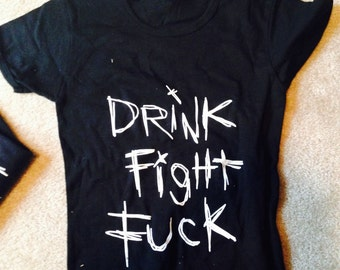 Original band  t-shirt by the band The Countdown from Chicago DRINK FIGHT FUCK
