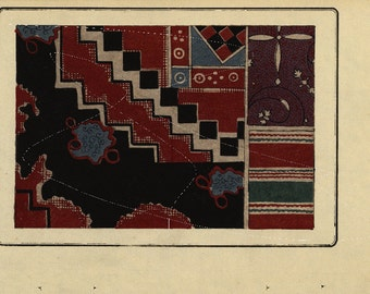 Antique Original woodblock  Meiji period Japanese Pattern - Printed on a nice paper