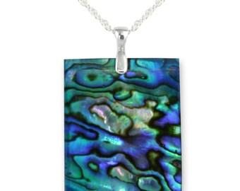 Deep Blue Paua Shell Pendant