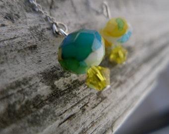 Silver Ear Thread Earrings with Swarovski Crystal & Glass Beads