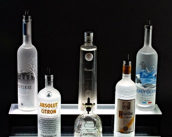 "2 Tier 24"" LED Lighted Liquor Shelf Bottle Display, 2 step 24"" bottle Shelves"