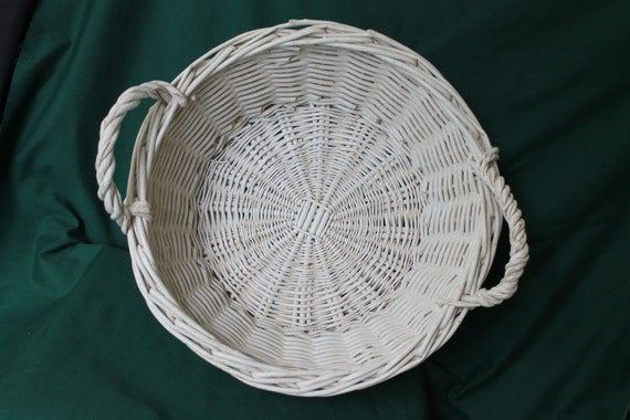 Large Round Wicker Baskets With Handle : Items similar to vintage wicker hand woven large round