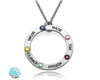 Engraved Birthstone Necklace in Sterling Silver with Swarovski Birthstones - Personalized