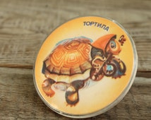 Pin ... pinback button ... badge ... Soviet  ... cartoon hero ... turtle Tortila
