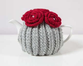 Silver Grey Hand Knit Tea Cozy with Red Crocheted Flowers.Teapot Cozy. Hand Knit Tea Cozy. Tea-Lovers Gift.