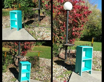 Patina Tint Bright Blue Book Shelf Small Bookcase CD Movie Rack Multi Functional 9.25dx10.75wx23h Custom Sizes Colors Available