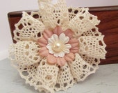 Natural Cotton Lace Flower & Mulberry Paper Flower with Pearl Beads Scrapbooking Cardmaking Journaling Brooch Pin Kids Hair Accessory Crafts