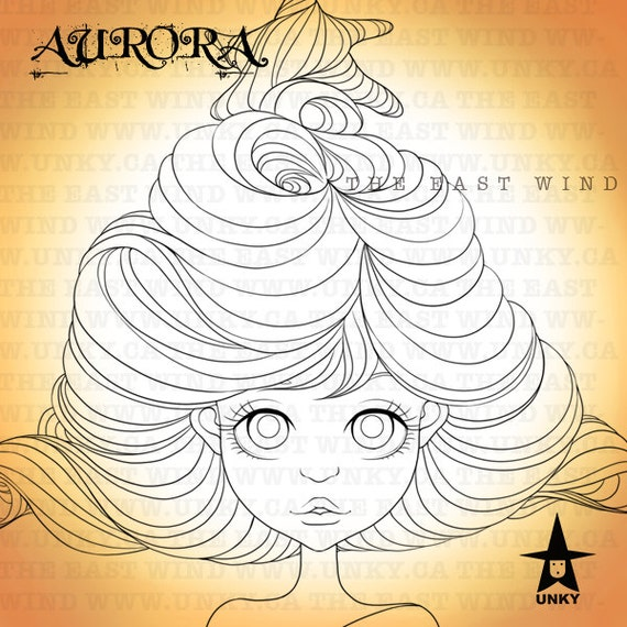 Digital stamp- AURORA ' Hair Tree' - 300 dpi 4 JPEG/PNG files - MAC0122