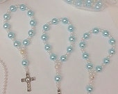 A DOZEN Light Blue glass pearl mini rosary bracelets. Perfect for first communions, baptisms, and wedding favors.