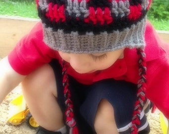 Crochet newborn - toddler Patchwork Earflap brimmed beanie hat - Custom made to order