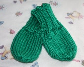 Kelly Green Baby Mittens - Green Thumbless Mittens - Green No Scratch Mittens - Green Knit Baby Mittens - Winter Baby Mittens - Baby Gift