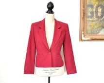 Pendleton Cropped Blazer - Preppy Red Wool Short Womens Suit Jacket - 70s Pendleton Mills Coat - Preppy Traditional Wool Blazer Size Small