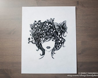 Flower Hair Linocut Prints