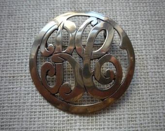 Vintage Mexico Sterling Silver Circle Monogram Brooch Pin