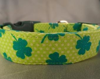 St. Patrick's Day Lucky Shamrocks Dog Collar