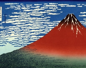 Red Mount Fuji FINE ART PRINT, Hokusai 36 Views of Mount Fuji, Japanese art, Japanese woodblock print, paintings, wall posters reproductions