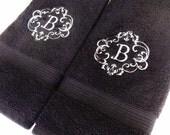 Custom Towels, hand towel, bathroom, personalized gift, embroidered  towels, towel set. bathroom decor, Monogrammed towel. august ave, black