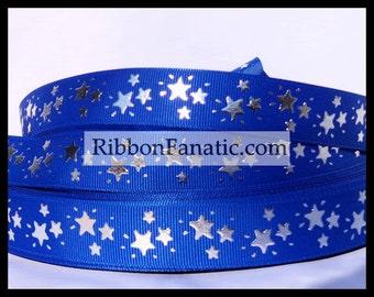 "5 yds 7/8"" Silver Foil Stars on Bright Electric Blue Grosgrain Ribbon"