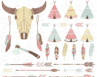 """Tribal clipart pack: """"INDIAN CLIP ART"""", teepee tents, skull, buffalo, bison, feathers, arrows, borders, indian clip art, invitation, Trb002"""