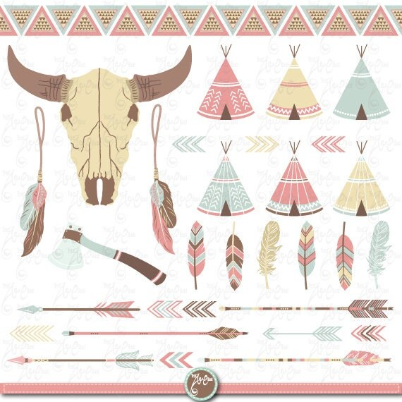 "Tribal clipart pack: ""INDIAN CLIP ART"", teepee tents, skull, buffalo ..."