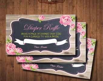 Diaper Raffle for Girl Baby Shower. Chalkboard. Spring roses