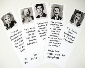 Authors bookmarks set FRENCH Thomas Mann Kafka Tolstoi Somerset Maugham Kundera bookmark  art black and white pics