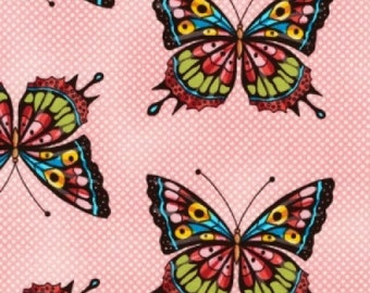 HALF YARD BUTTERFLIES Pink Quilting Cotton - Flutter by Ro Gregg for paintbrush studio. Butterflies All Over