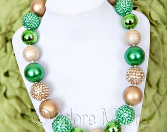St Patty Day Reflections Necklace, Chunky Bead Children's Necklace, Kids Necklace, Chunky Necklace, Chunky Bead Necklace,