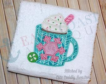 HOT COCOA machine embroidery design