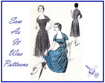 1950s McCalls 3231 Flared Skirt Dress Lace Over Skirt Scalloped Neckline Short Sleeves Fitted Bodice Vintage Sewing Pattern Size 12 Bust 30