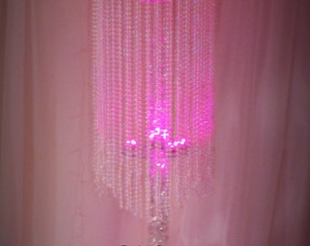 Table top chandelier Wedding  centerpiece, 1 tiers of iridescent beads coming from top to bottom , Wedding Centerpiece.
