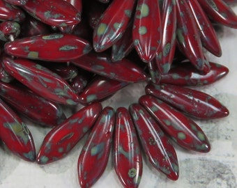 Deep Red Czech Dagger Beads with Picasso Coating, 24 beads - Item 1650