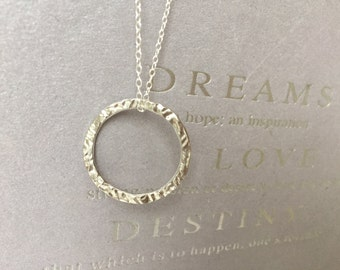14K White Gold Hammered Ring Necklace, Karma Necklace, Eternal Love, Halo Necklace, Everyday Necklace, Eternity Necklace, Layering Necklace