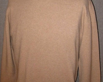 Vintage 50's Pristine Mens Scottish Cashmere Sweater L/XL Heathered Tan Excellent