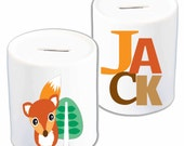 Personalised ceramic money box bank Clever Little Fox Big Name design any name any color, great keepsake for the nursery